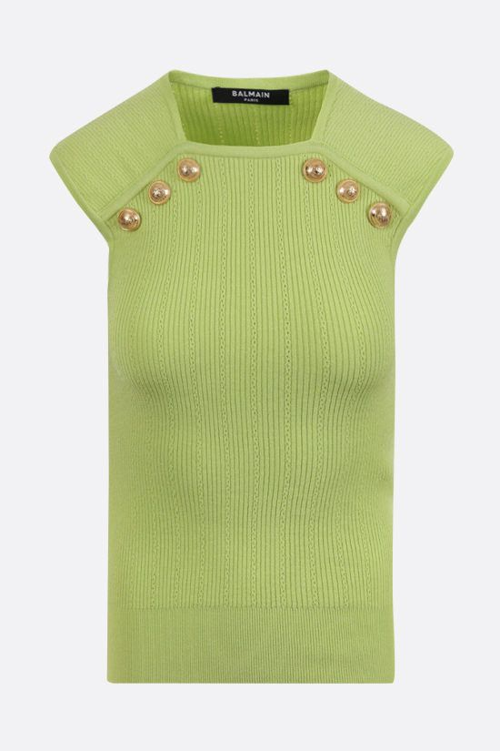 BALMAIN: ribbed knit top with embossed buttons Color Blue_1