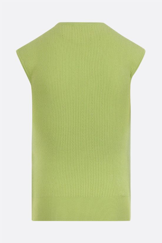 BALMAIN: ribbed knit top with embossed buttons Color Blue_2
