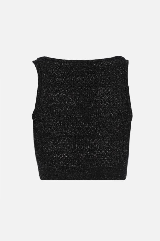 BALMAIN: perforated knit lurex blend cropped top Color Black_2