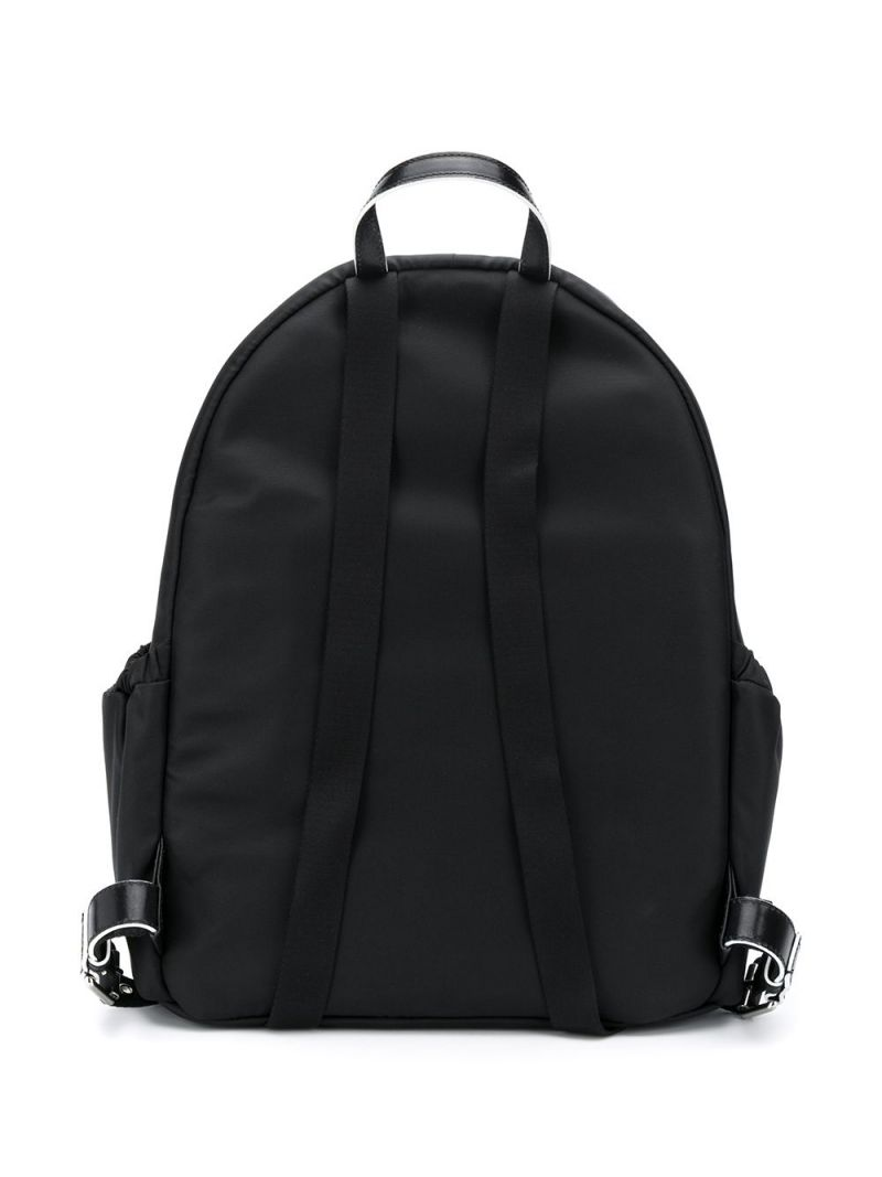 BALMAIN KIDS: Balmain logo print nylon backpack Color Black_2