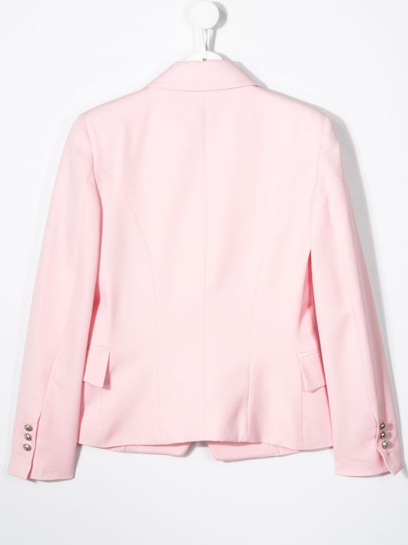 BALMAIN KIDS: double-breasted wool jacket Color Pink_2