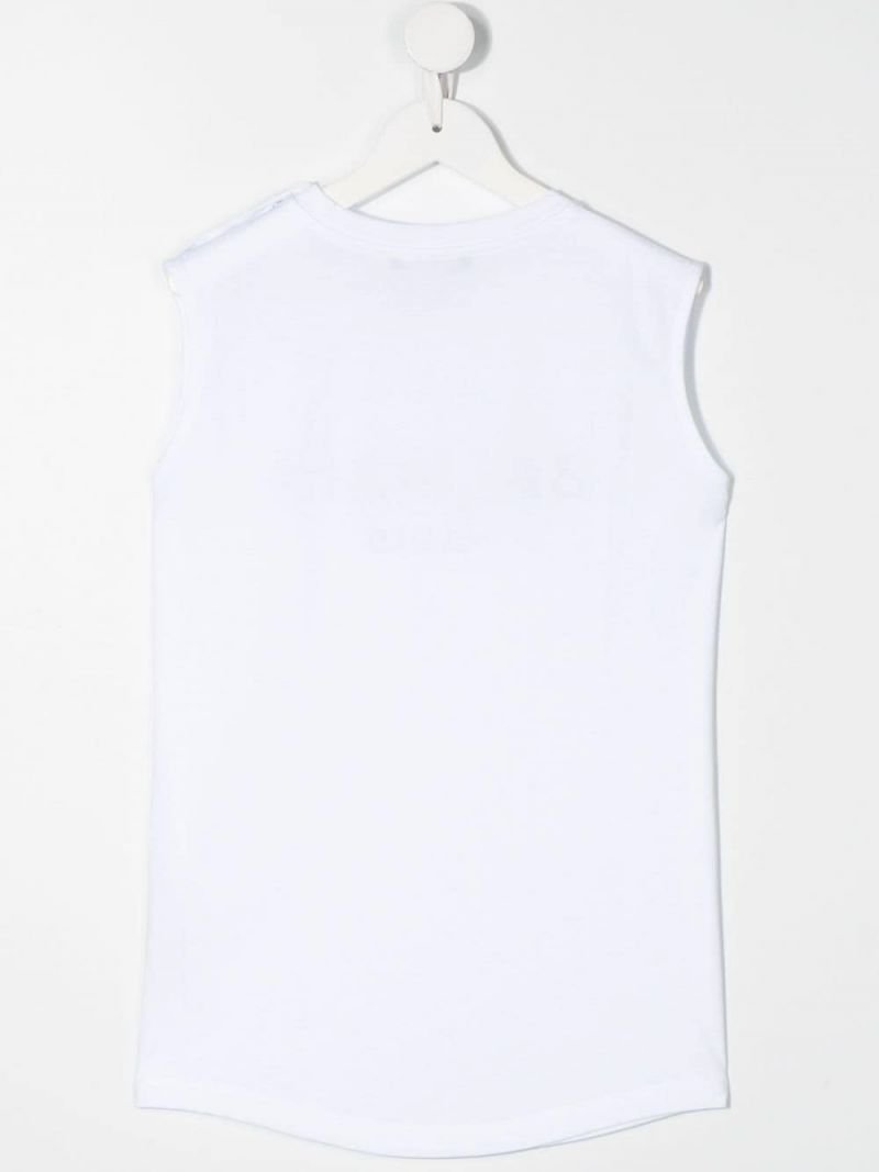 BALMAIN KIDS: Balmain logo print cotton sleeveless t-shirt Color White_2