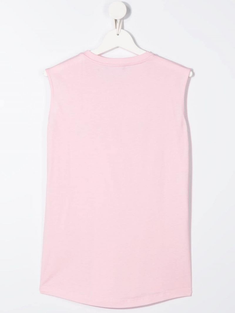 BALMAIN KIDS: Balmain logo print cotton sleeveless t-shirt Color Pink_2