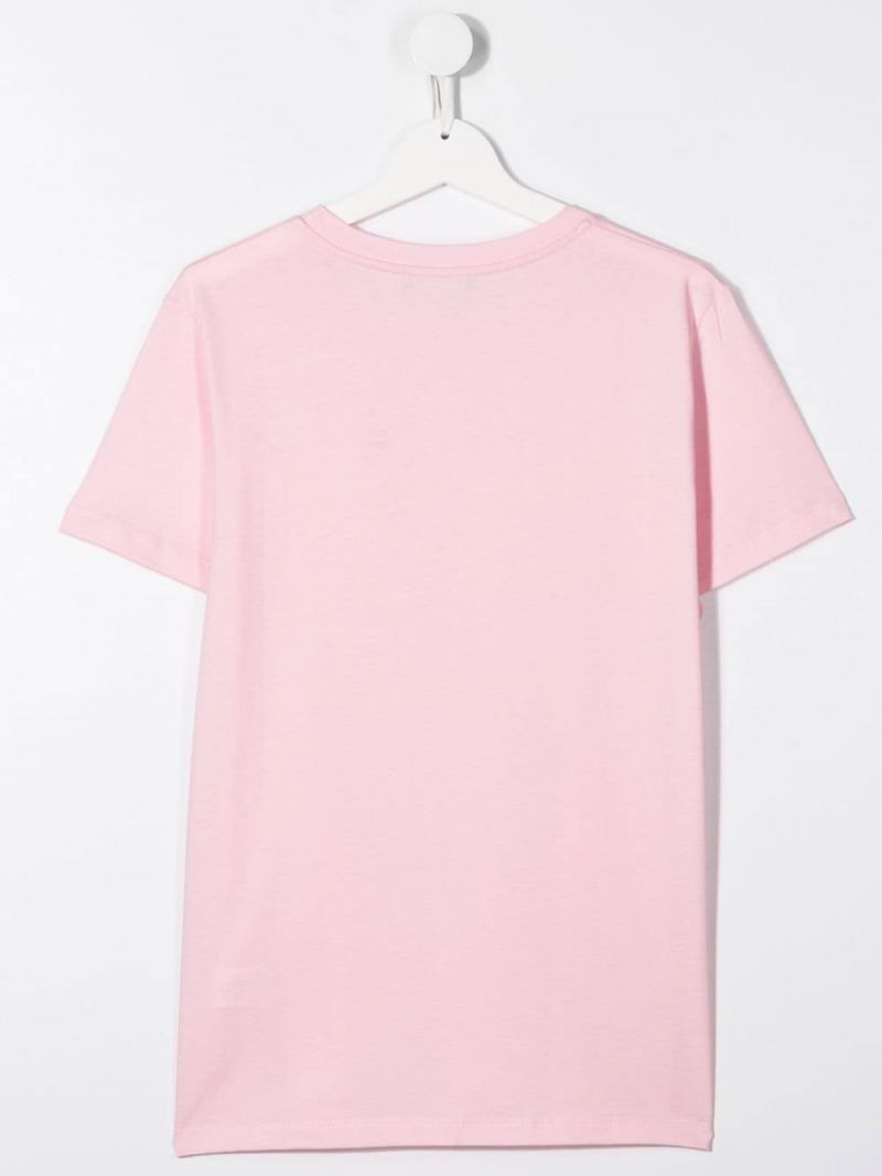 BALMAIN KIDS: logo print cotton t-shirt Color Pink_2