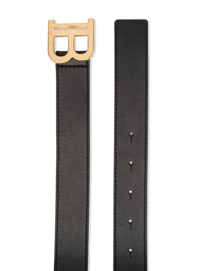 BALMAIN KIDS: logo plaque smooth leather belt Color Black_2