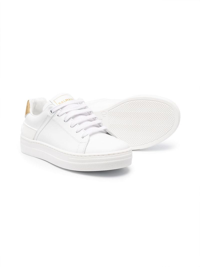 BALMAIN KIDS: smooth leather low-top sneakers Color White_2
