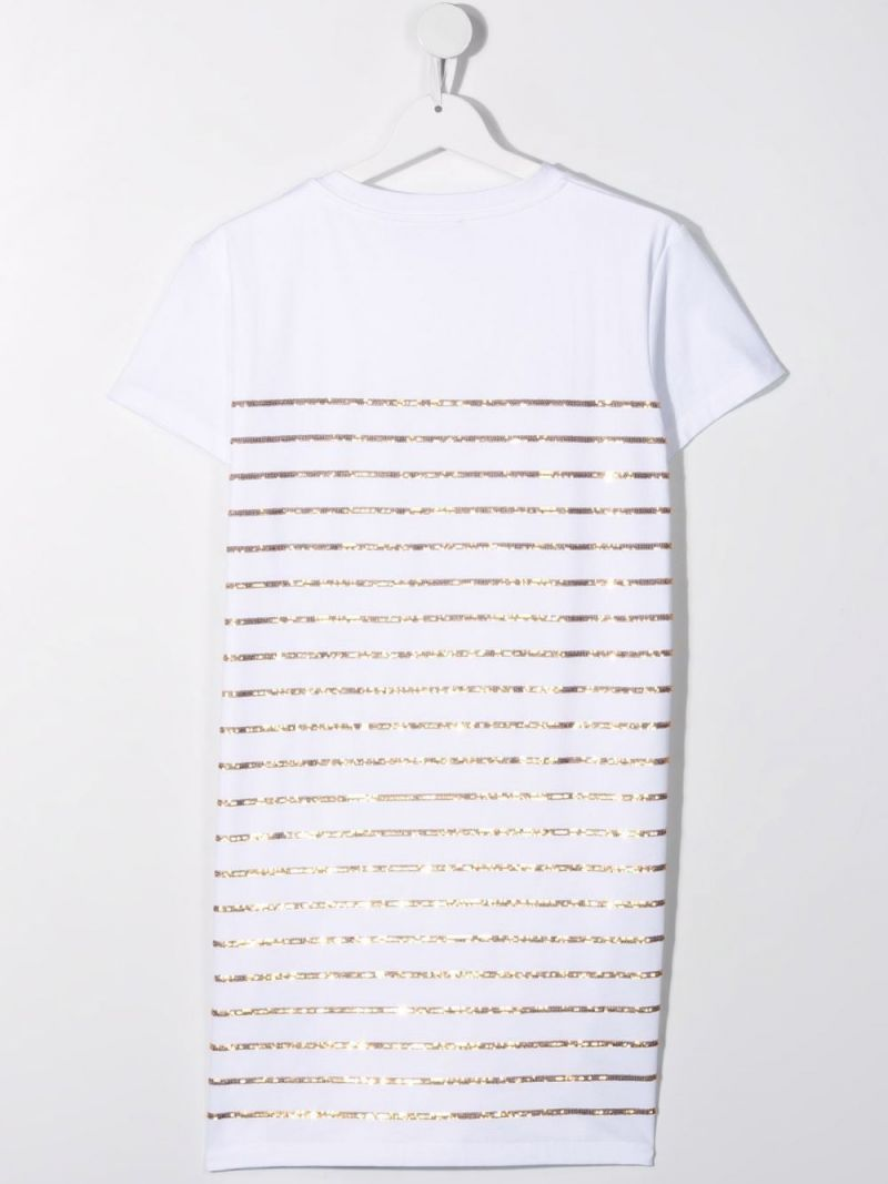 BALMAIN KIDS: sequinned stripes and logo embroidered cotton t-shirt dress Color White_2