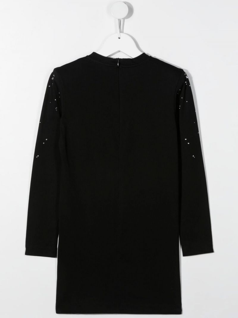 BALMAIN KIDS: rhinestone-detailed cotton short dress Color Black_2