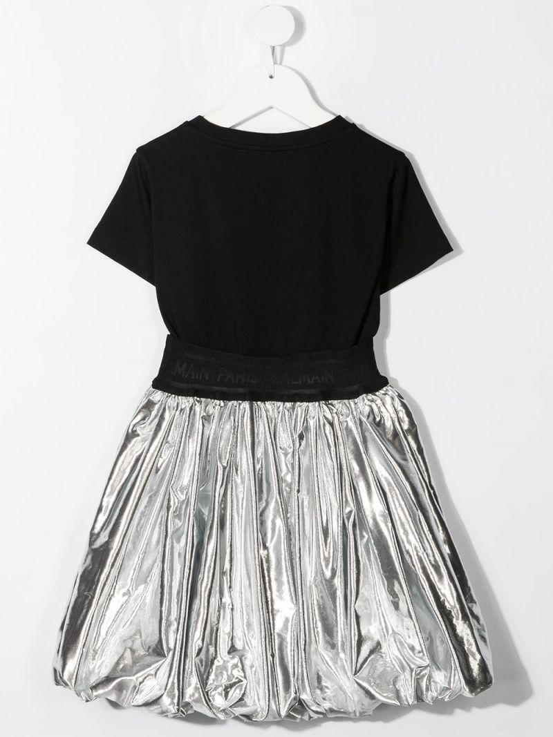 BALMAIN KIDS: cotton and laminated nylon dress Color Black_2