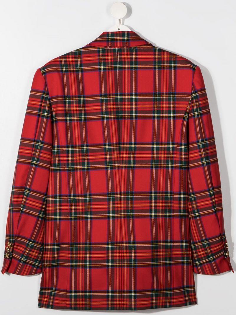 BALMAIN KIDS: double-breasted check wool jacket Color Red_2