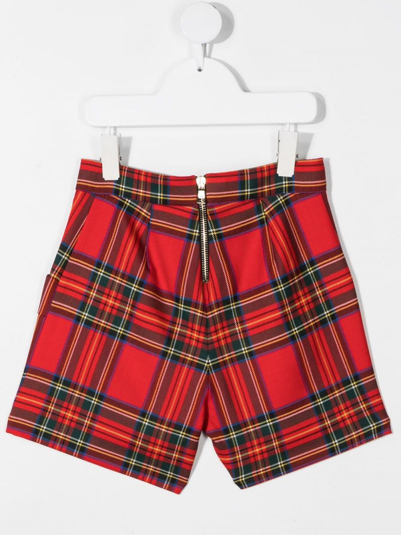 BALMAIN KIDS: check stretch wool shorts Color Red_2