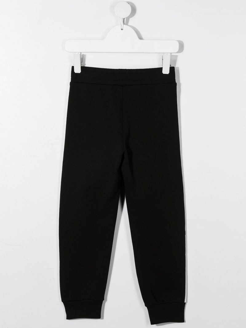 BALMAIN KIDS: logo print cotton joggers Color Black_2