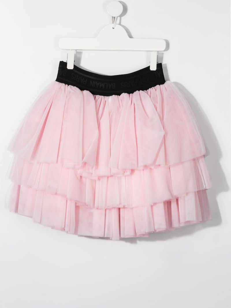 BALMAIN KIDS: tulle flounced skirt Color Pink_2