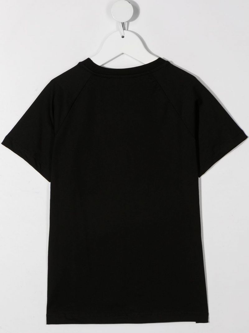 BALMAIN KIDS: Balmain logo print cotton t-shirt Color Black_2