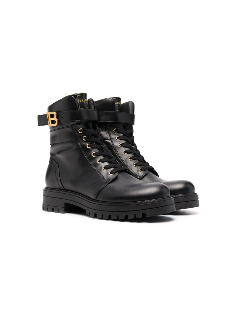BALMAIN KIDS: smooth leather combat boots Color Black_1