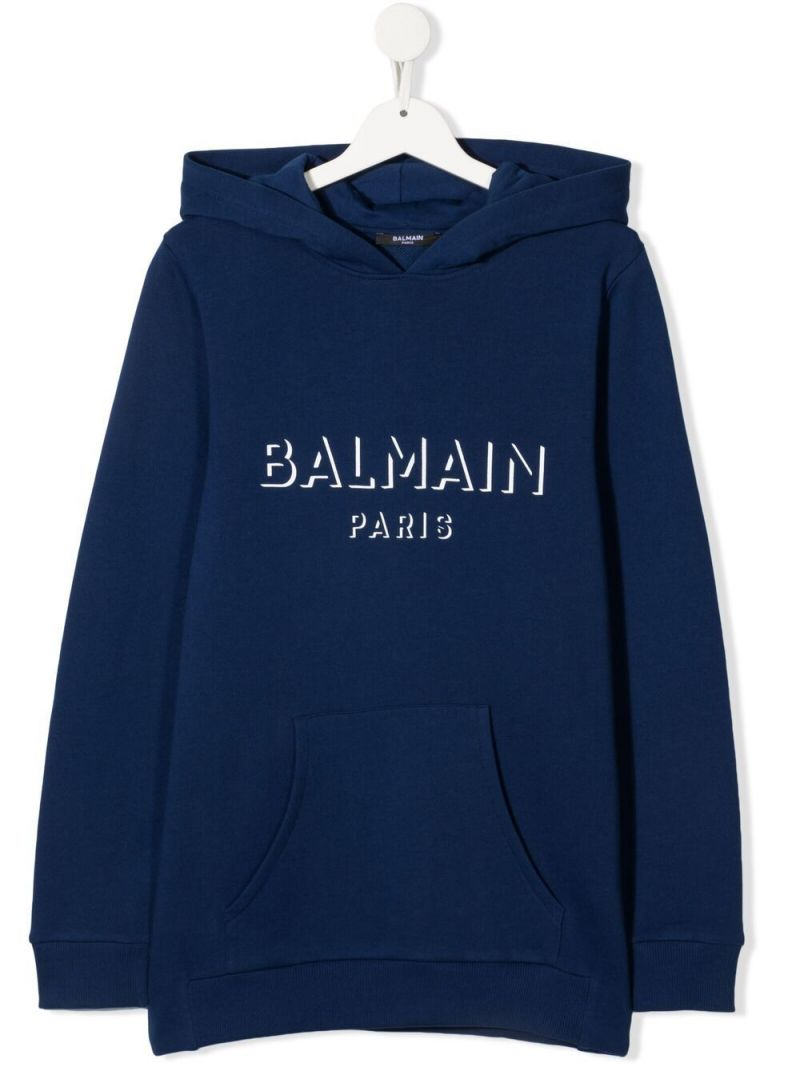 BALMAIN KIDS: logo print cotton hoodie Color Blue_1
