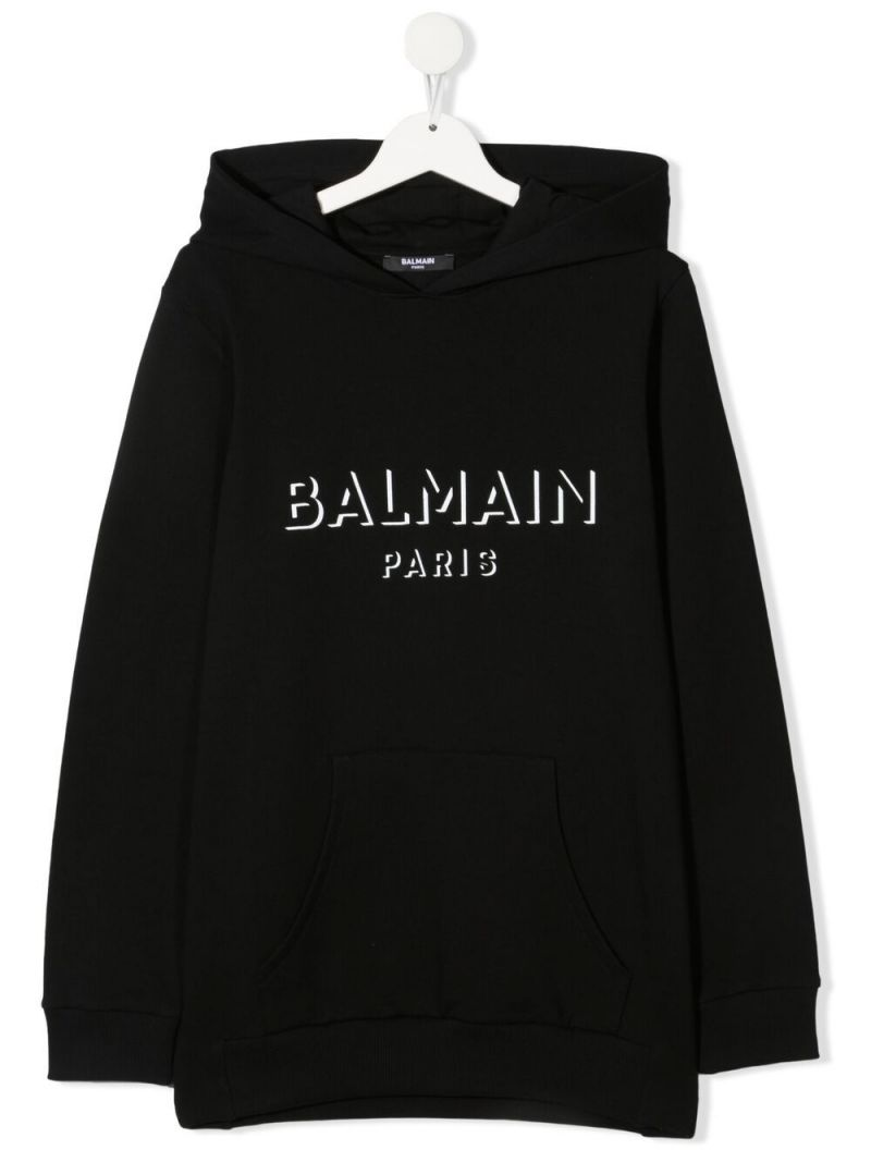 BALMAIN KIDS: logo print cotton hoodie Color Black_1