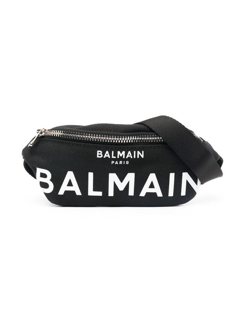 BALMAIN KIDS: logo print canvas belt bag Color Black_1