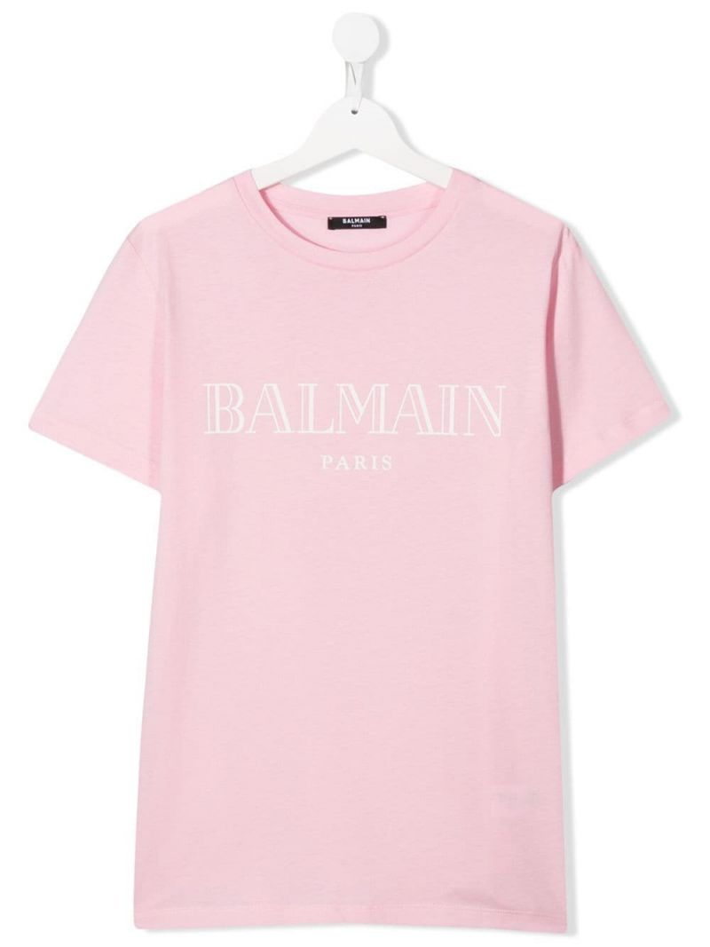 BALMAIN KIDS: logo print cotton t-shirt Color Pink_1