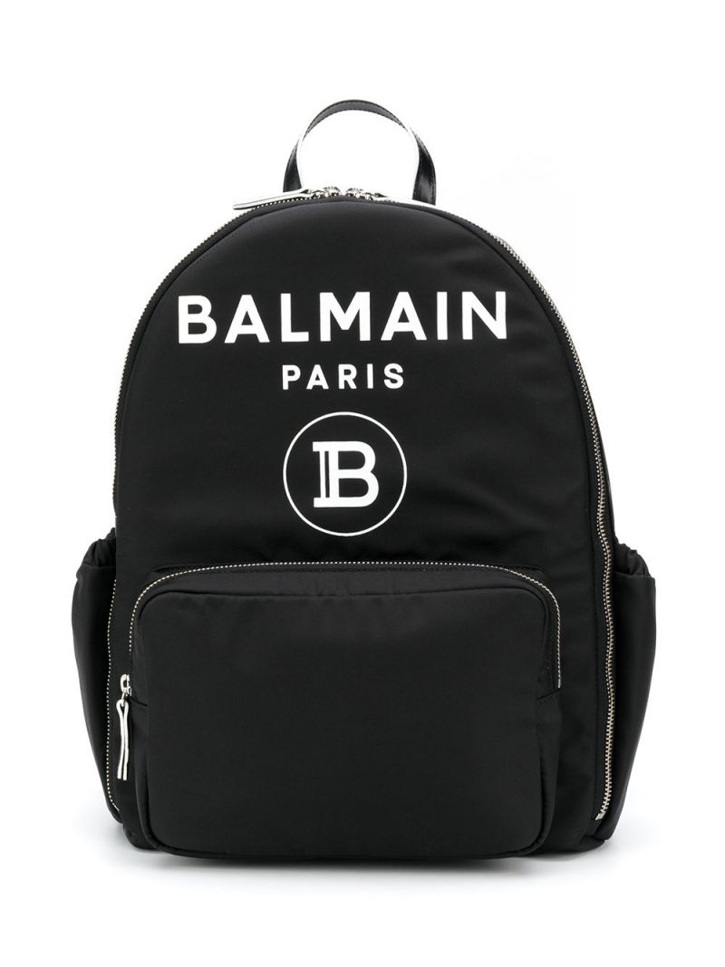 BALMAIN KIDS: Balmain logo print nylon backpack Color Black_1