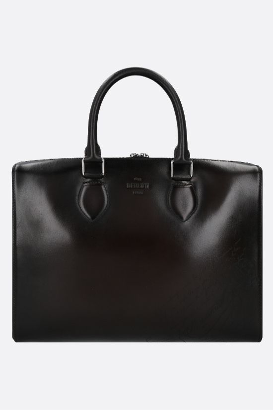 BERLUTI: Daily business bag in Scritto leather Color Black_1