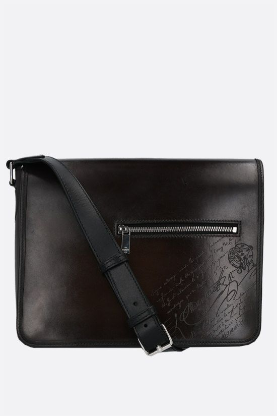 BERLUTI: Everyday messenger bag in Scritto leather Color Black_1
