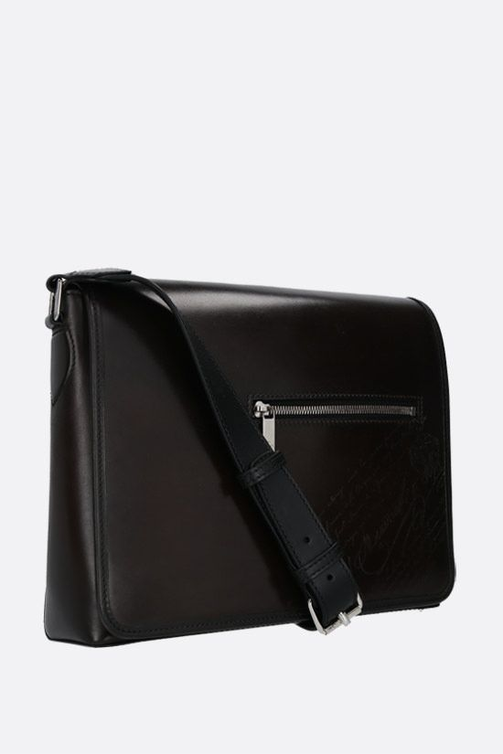 BERLUTI: Everyday messenger bag in Scritto leather Color Black_2
