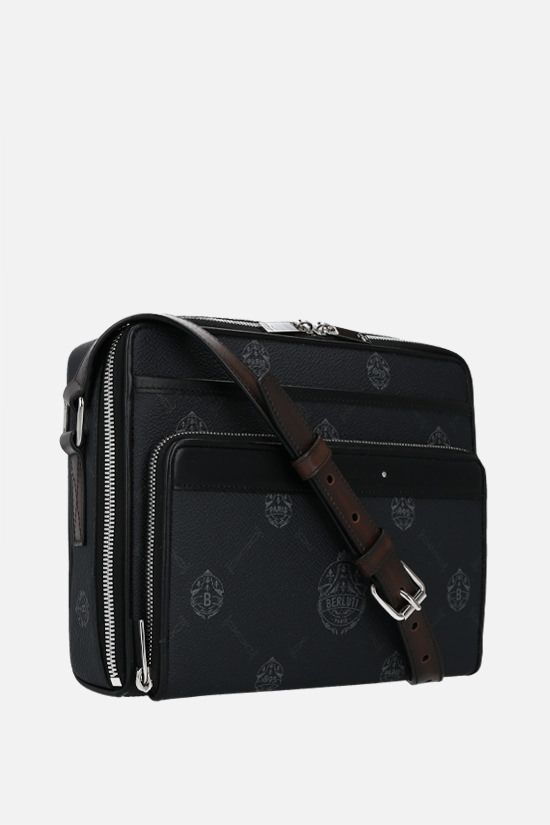 BERLUTI: Miles canvas and smooth leather crossbody bag Color Black_2