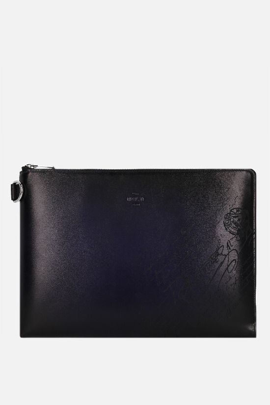 BERLUTI: Nino clutch in Scritto leather Color Blue_1