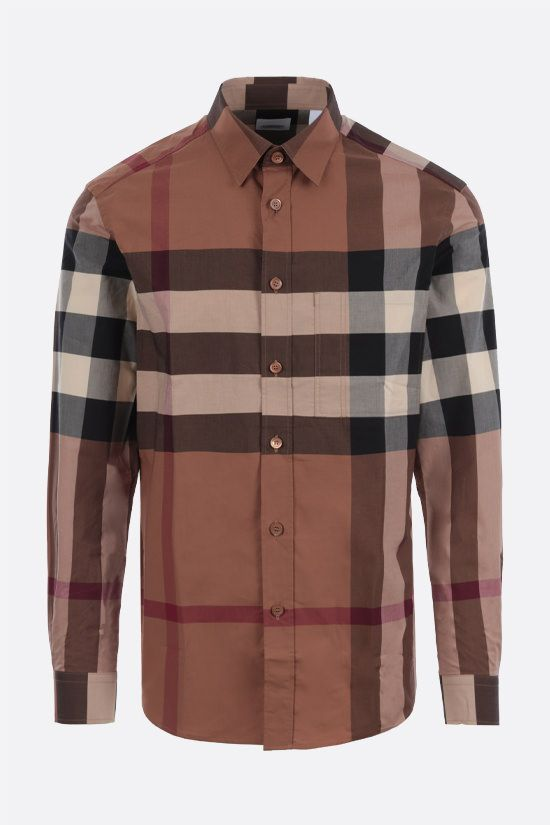 BURBERRY: camicia Chadbury in cotone stretch Colore Marrone_1