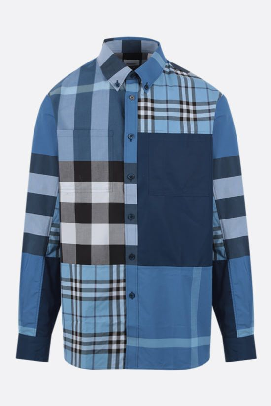 BURBERRY: camicia Tewkesbury in cotone patchwork Colore Blu_1