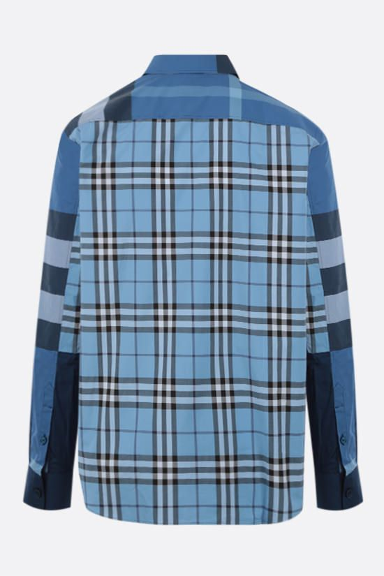 BURBERRY: camicia Tewkesbury in cotone patchwork Colore Blu_2