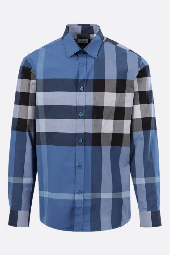 BURBERRY: camicia Somerton in cotone stretch Colore Blu_1