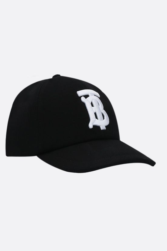 BURBERRY: monogram-detailed cotton baseball cap Color Black_2