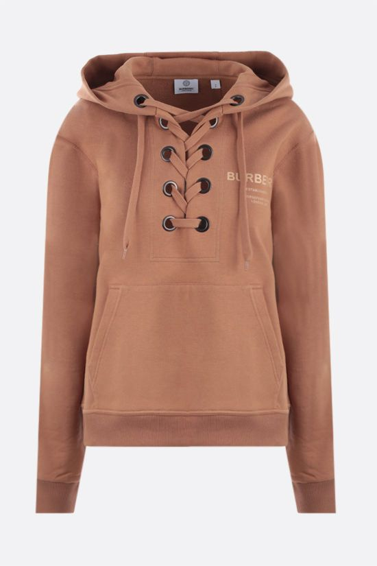 BURBERRY: felpa oversize Poulter Cross in cotone Colore Marrone_1