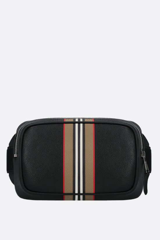 BURBERRY: marsupio West in pelle martellata Colore Nero_1