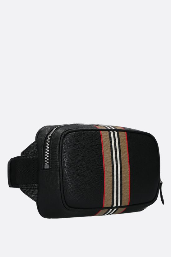 BURBERRY: marsupio West in pelle martellata Colore Nero_2