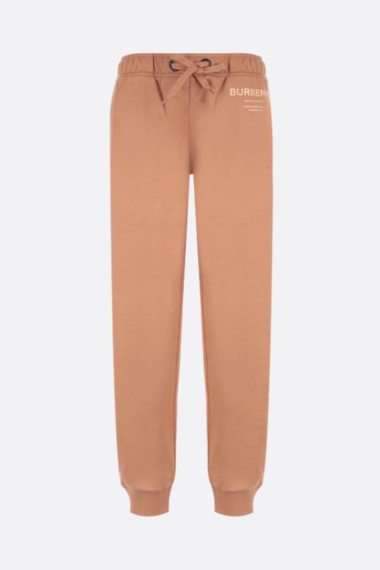 BURBERRY: pantalone jogging Esmee in cotone stampa logo Horseferry Colore Marrone_1