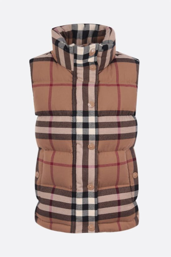 BURBERRY: Theford flannel sleeveless down jacket Color Brown_1