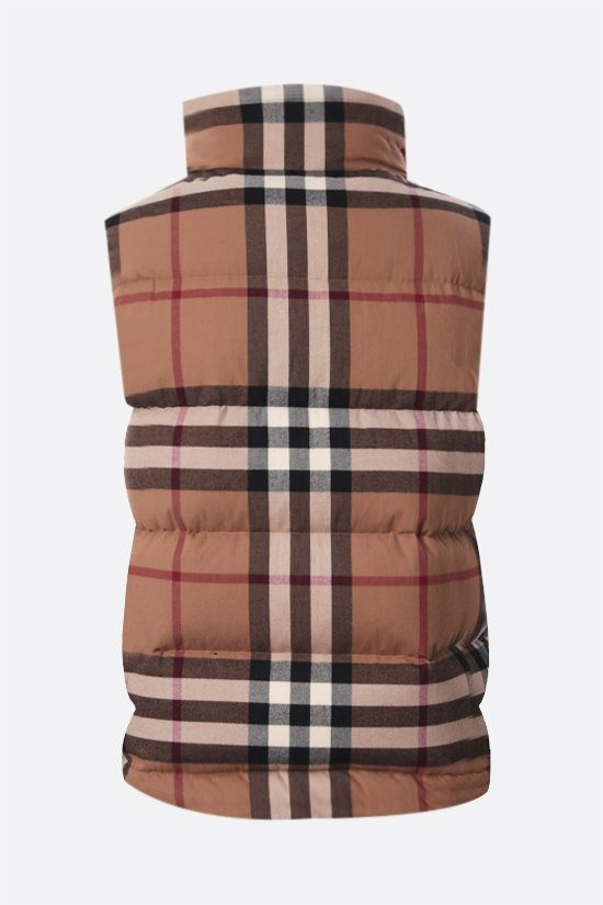 BURBERRY: Theford flannel sleeveless down jacket Color Brown_2