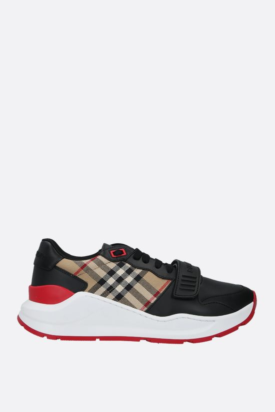 BURBERRY: Ramsey smooth leather and fabric sneakers Color Black_1