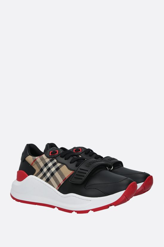 BURBERRY: Ramsey smooth leather and fabric sneakers Color Black_2