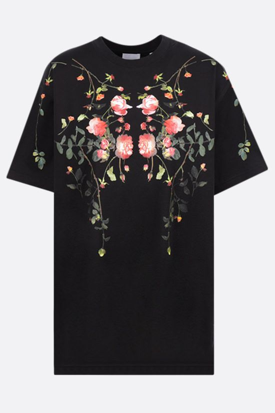 BURBERRY: t-shirt oversize Carrick Flowers in cotone Colore Nero_1
