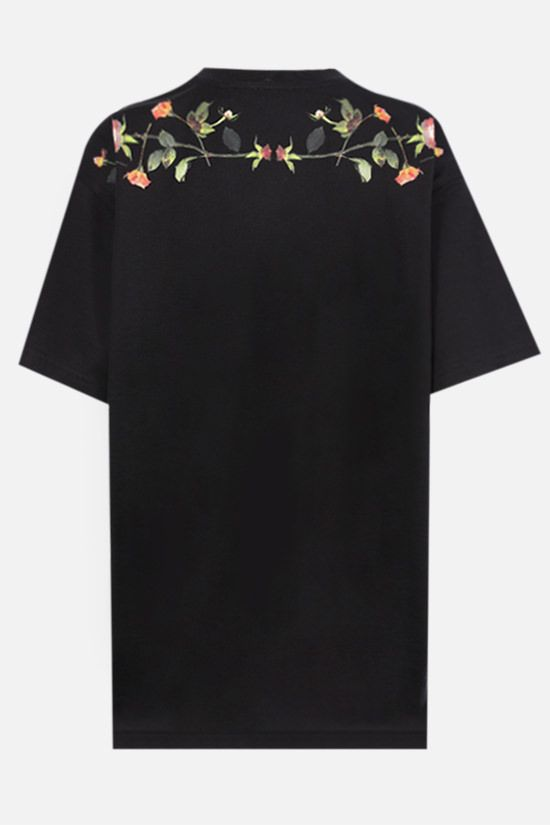 BURBERRY: t-shirt oversize Carrick Flowers in cotone Colore Nero_2
