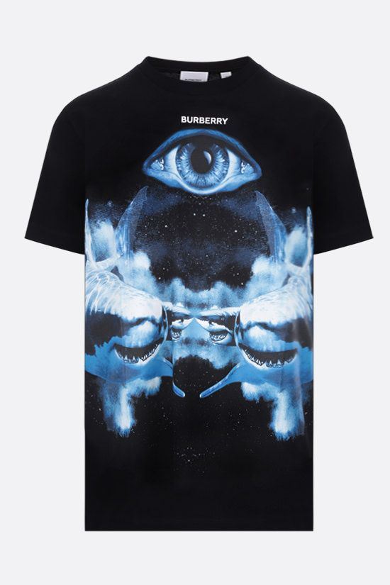 BURBERRY: t-shirt oversize Carrick Eye in cotone Colore Nero_1