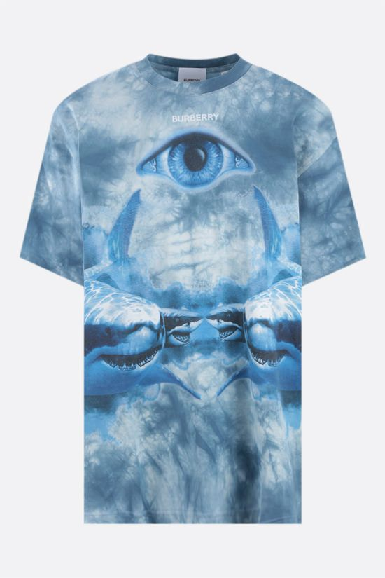 BURBERRY: t-shirt oversize Carrick Eye in cotone Colore Blu_1
