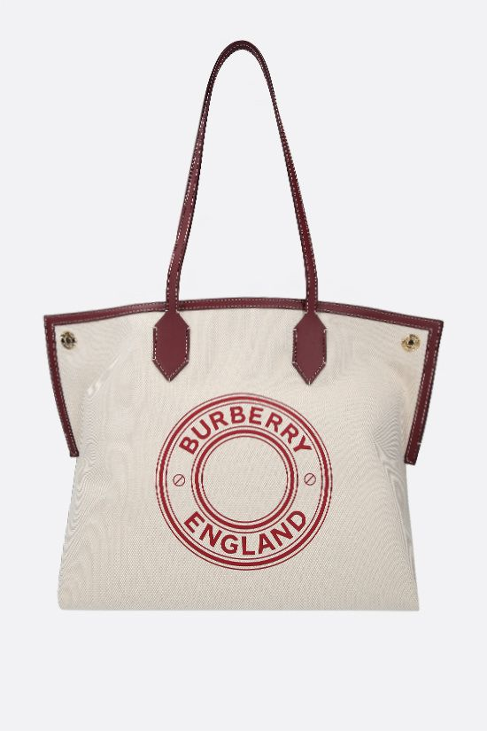 BURBERRY: borsa tote Society media in canvas Colore Multicolore_1