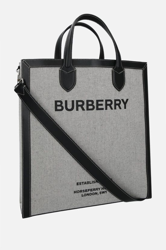BURBERRY: Kane medium canvas and smooth leather tote bag Color Black_2