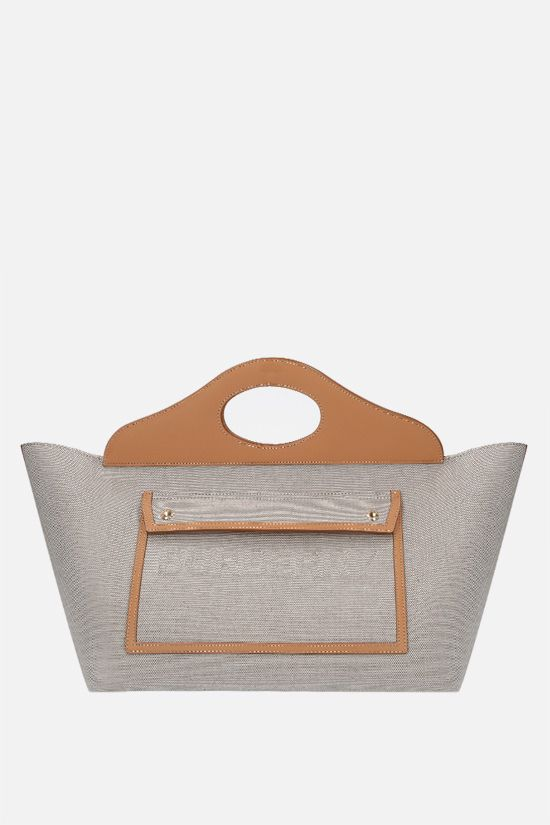 BURBERRY: Pocket medium canvas and smooth leather tote bag Color Grey_1
