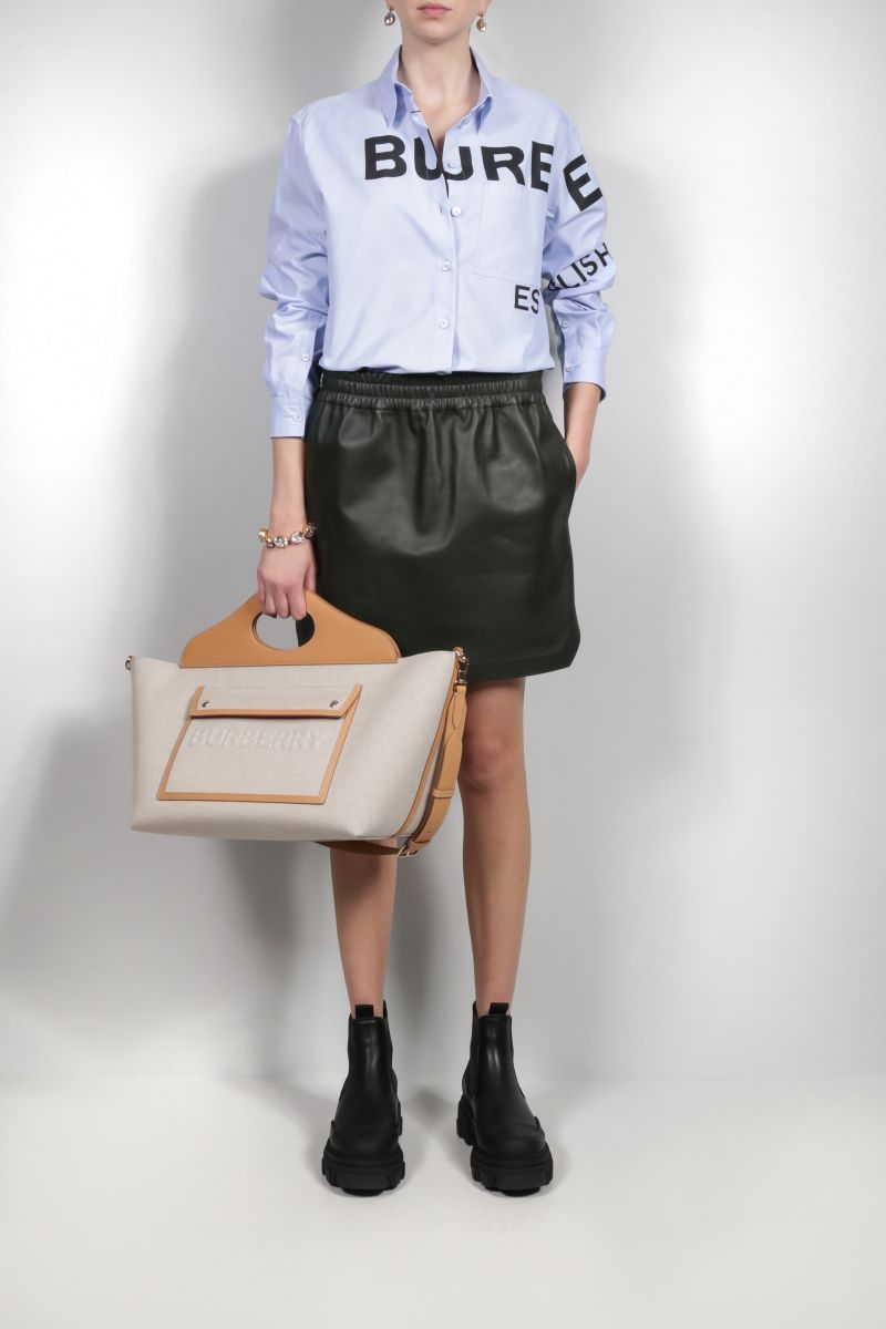 BURBERRY: Pocket medium canvas and smooth leather tote bag Color Grey_2